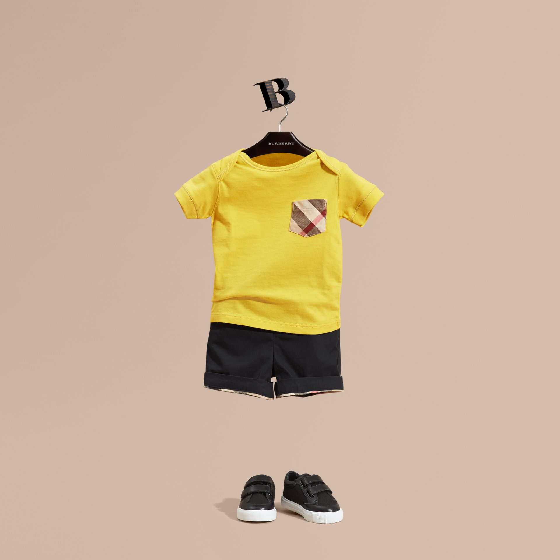 Check Pocket T-Shirt Bright Yellow - gallery image 1