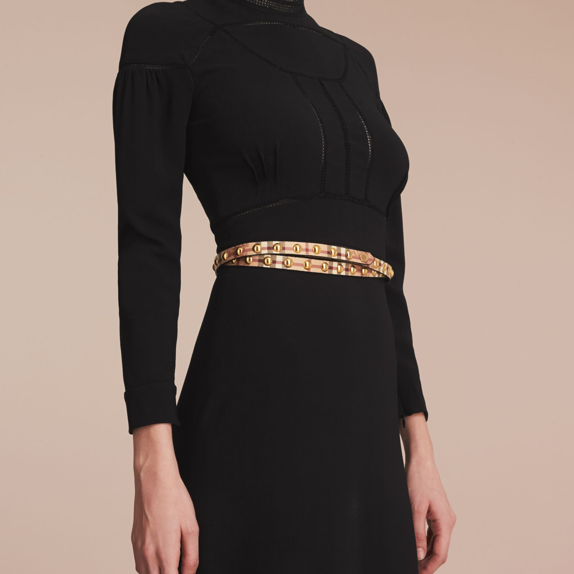 Studded Haymarket Check Double-wrap Belt - Women | Burberry - gallery image 2