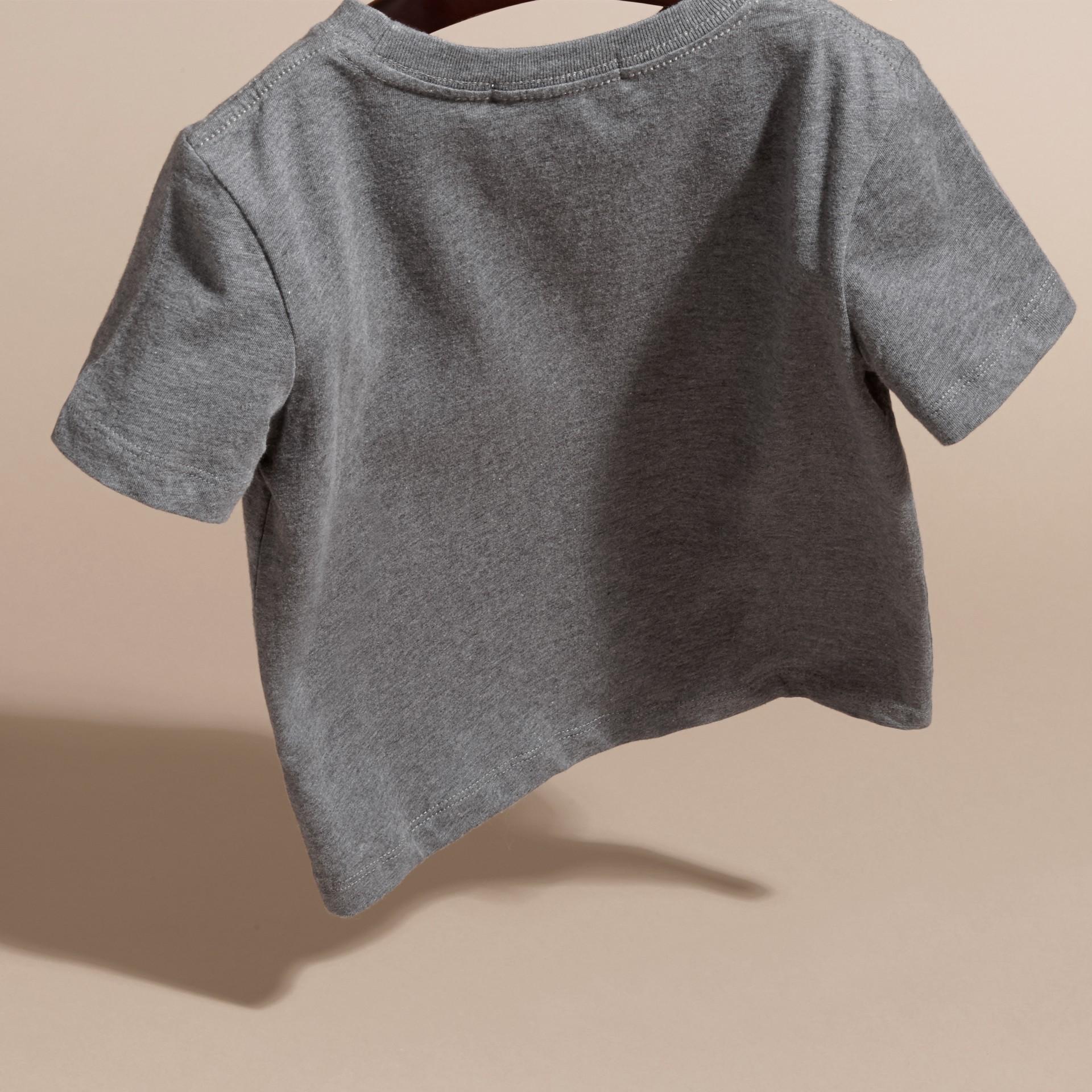 Nero fumo mélange T-shirt girocollo in cotone Nero Fumo Mélange - immagine della galleria 4