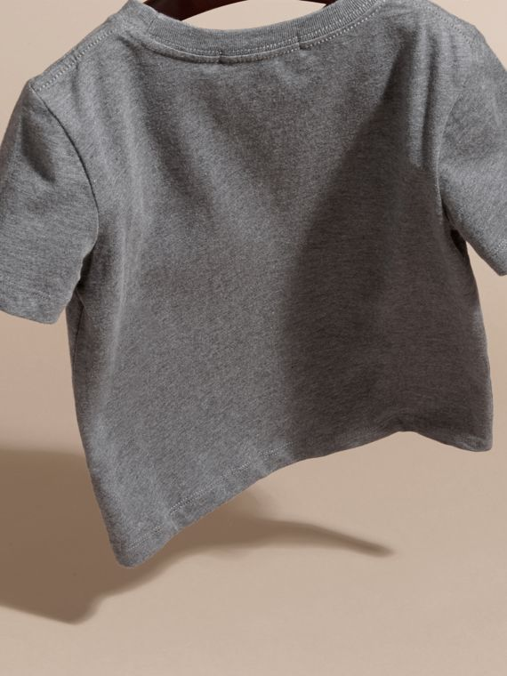Charcoal melange Crew Neck Cotton T-shirt Charcoal Melange - cell image 3