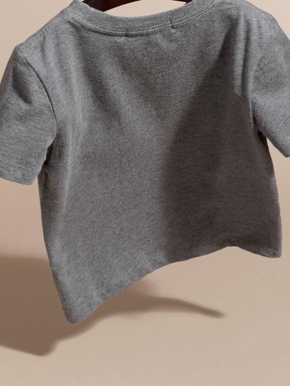 Nero fumo mélange T-shirt girocollo in cotone Nero Fumo Mélange - cell image 3