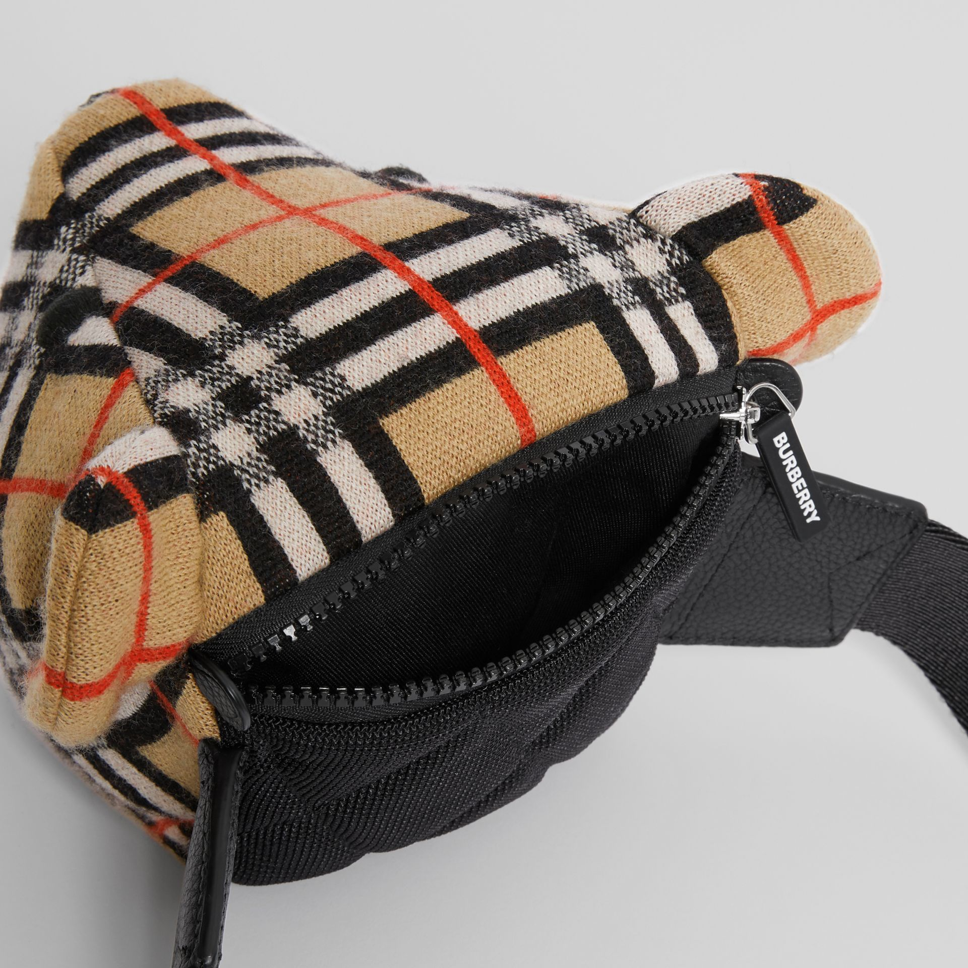 Thomas Bear Vintage Check Merino Wool Bum Bag in Archive Beige - Children | Burberry United States - gallery image 3