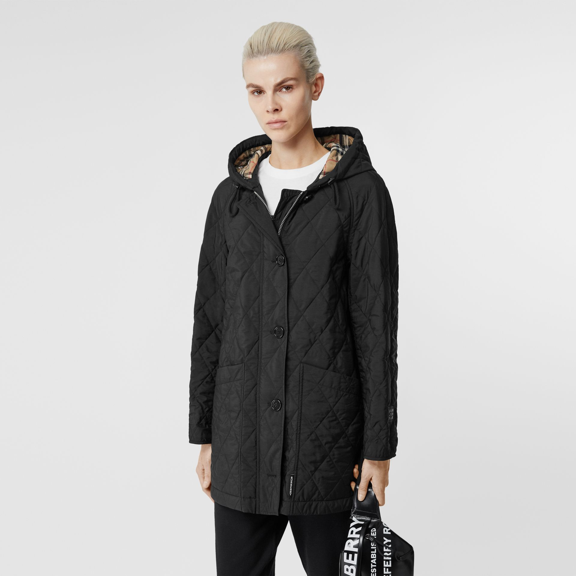 Diamond Quilted Thermoregulated Hooded Coat in Black - Women | Burberry - gallery image 5