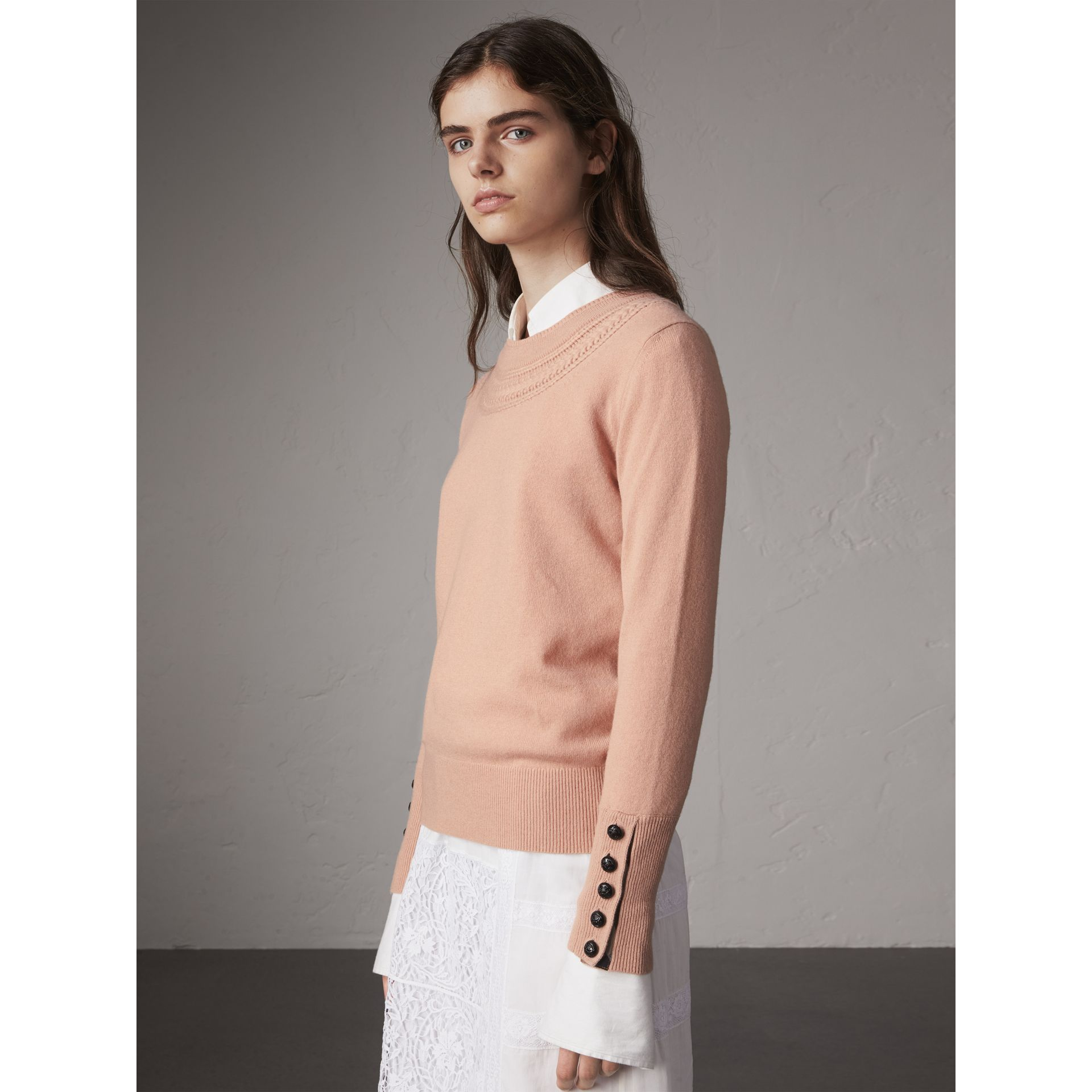Cable Knit Yoke Cashmere Sweater in Apricot Pink - Women | Burberry - gallery image 1