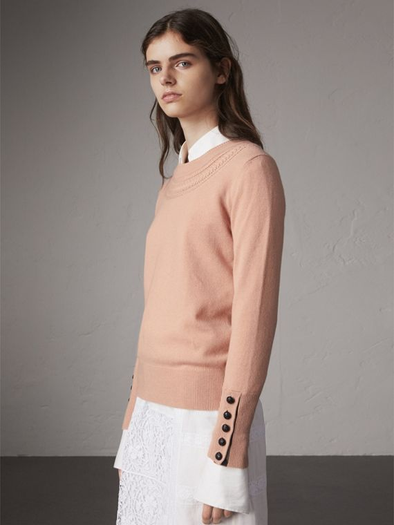 Cable Knit Yoke Cashmere Sweater in Apricot Pink