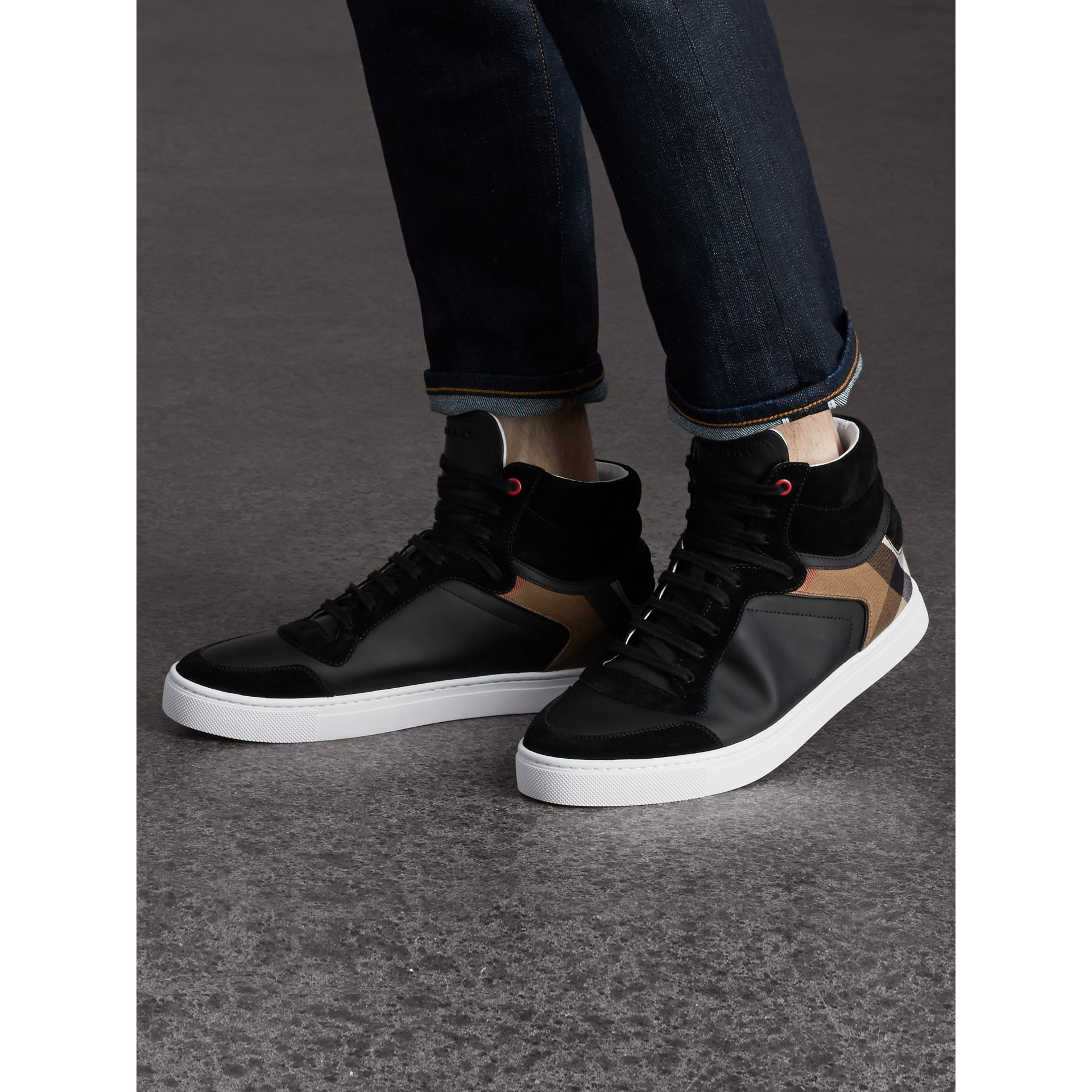 Leather and House Check High-top Trainers in Black - Men | Burberry - gallery image 3