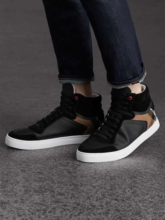Leather and House Check High-top Trainers in Black - Men | Burberry Singapore - cell image 2