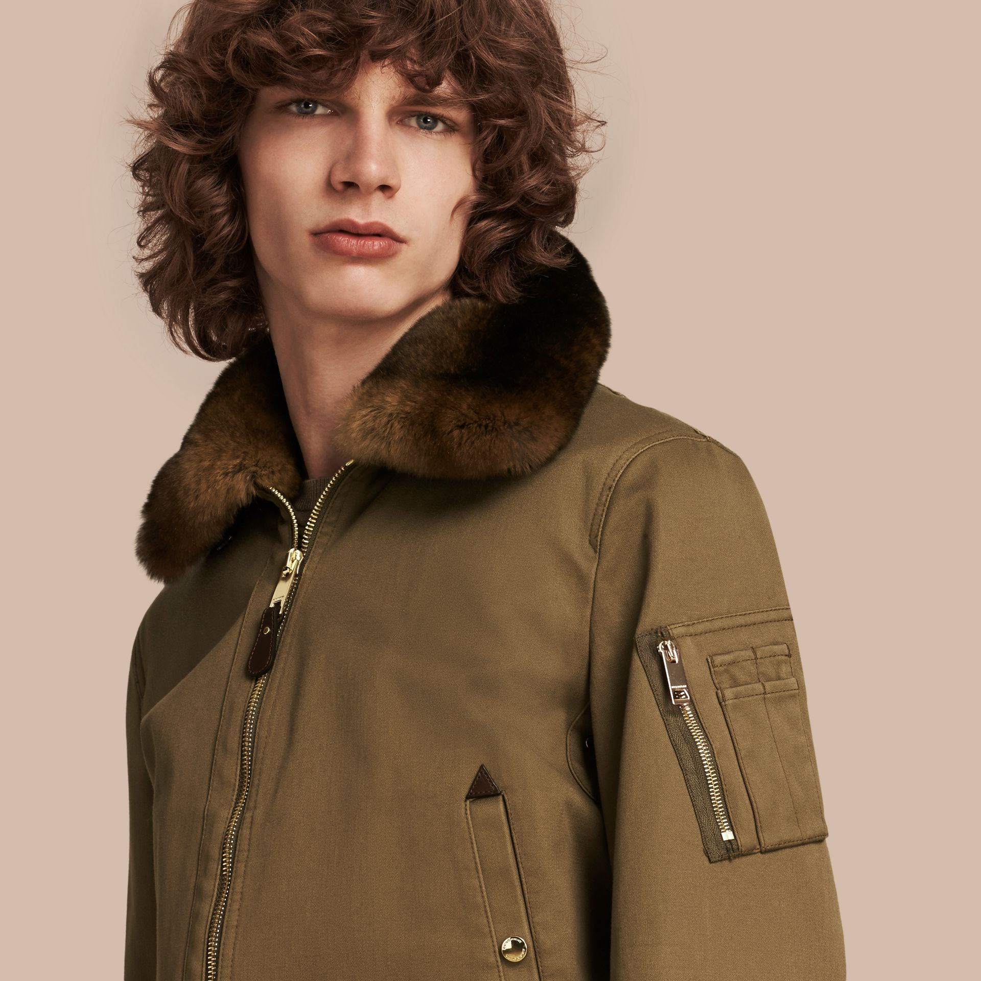 Olive green Cotton Bomber Jacket with Detachable Fur-lined Warmer - gallery image 6