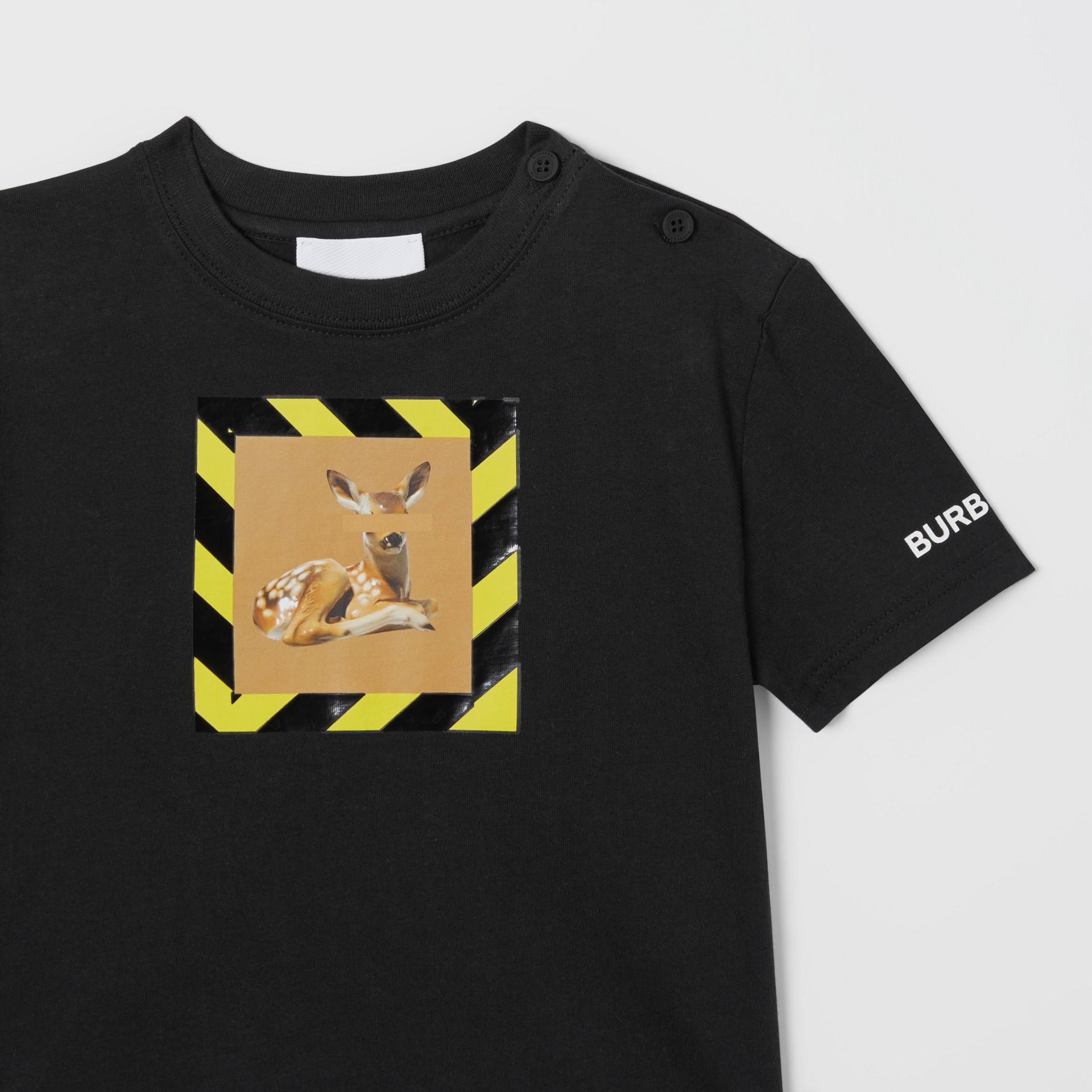 Deer Print Cotton T-shirt in Black - Children | Burberry Australia - gallery image 4