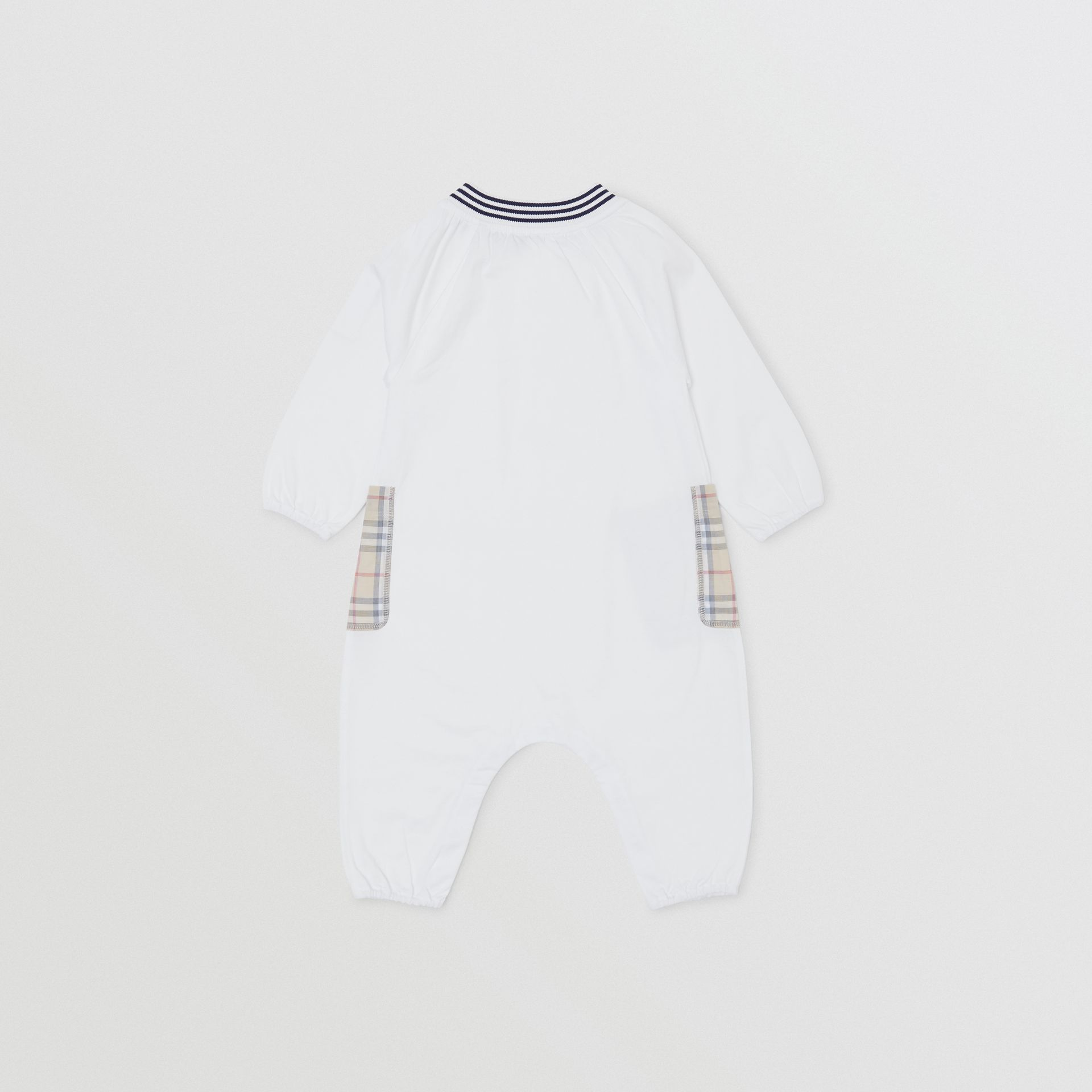 Star Print Check Trim Cotton Jumpsuit in White - Children | Burberry - gallery image 3