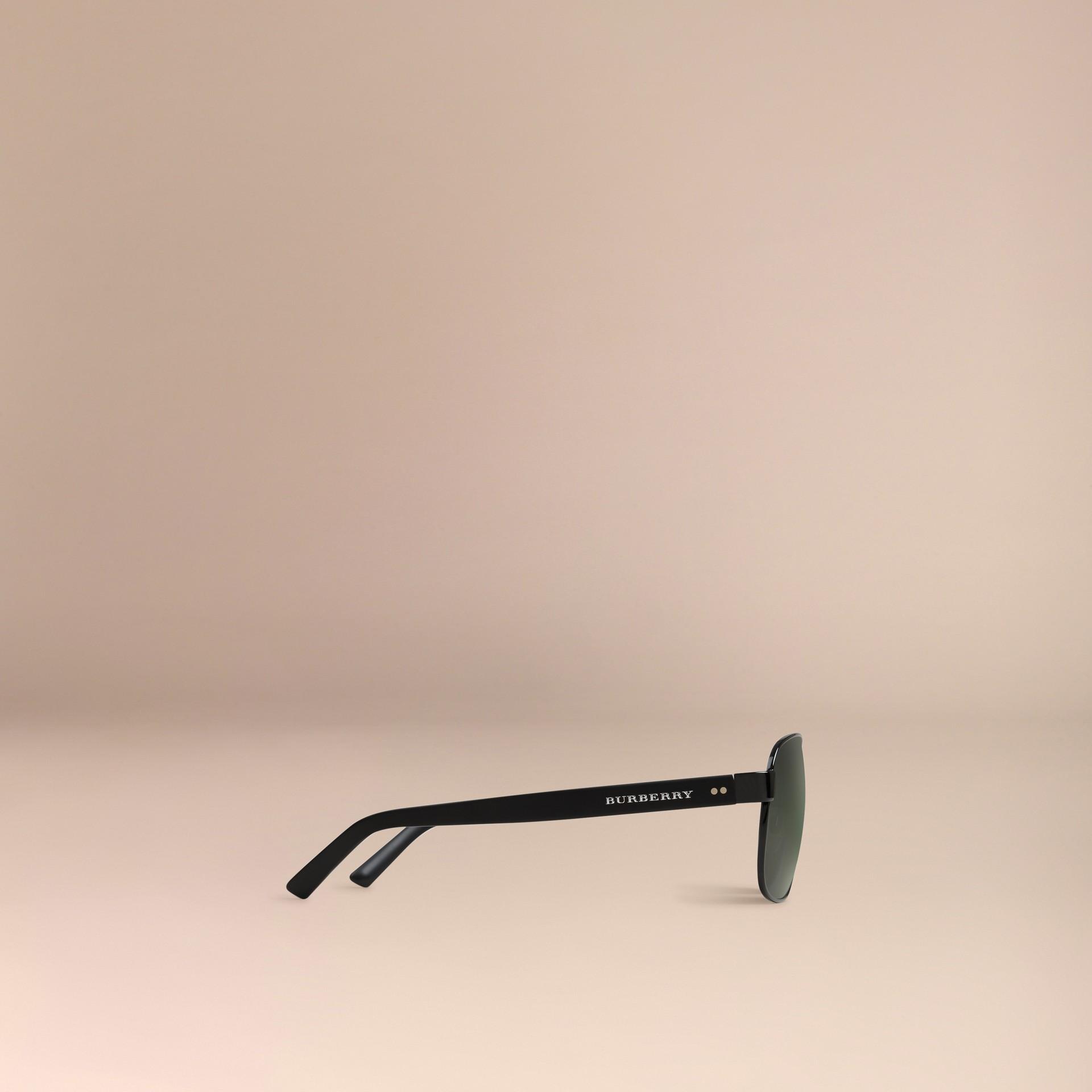 Shiny black Square Frame Aviator Sunglasses Shiny Black - gallery image 5