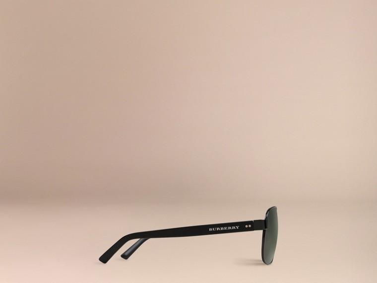 Shiny black Square Frame Aviator Sunglasses Shiny Black - cell image 4