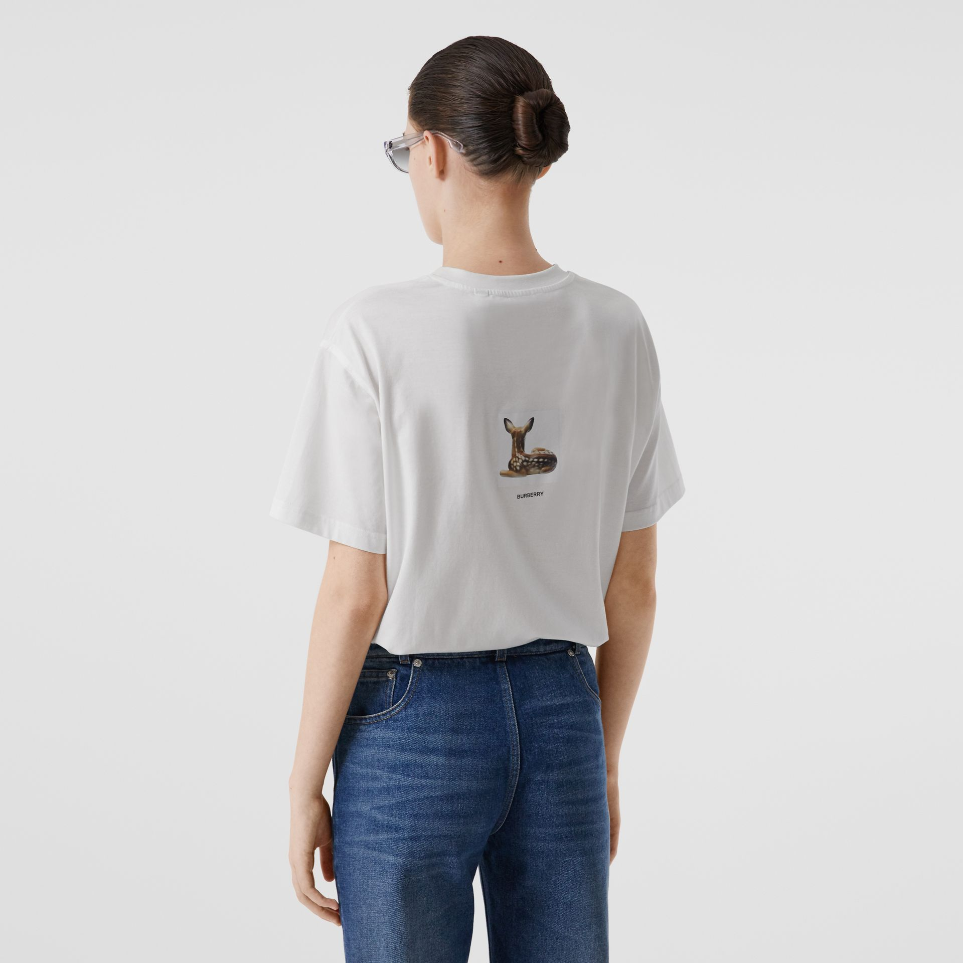Deer Print Cotton T-shirt in White | Burberry Australia - gallery image 2