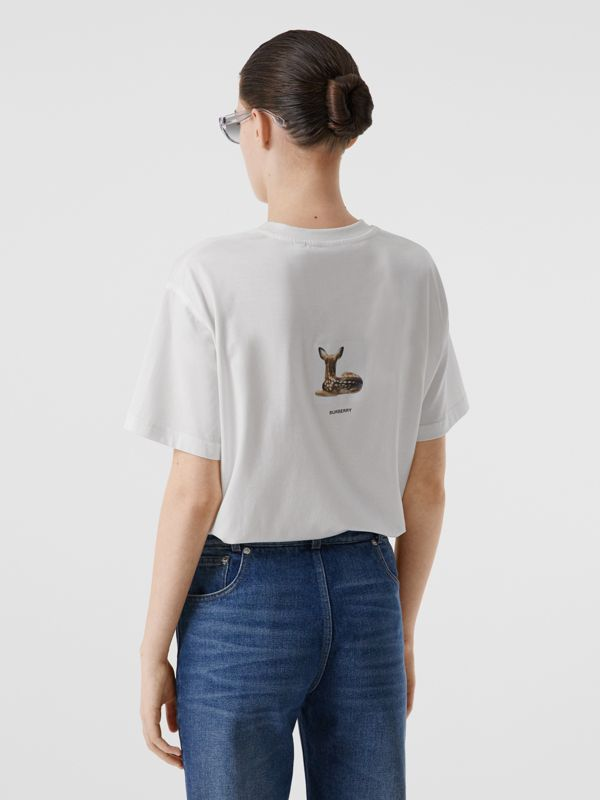 Deer Print Cotton T-shirt in White | Burberry Australia - cell image 2