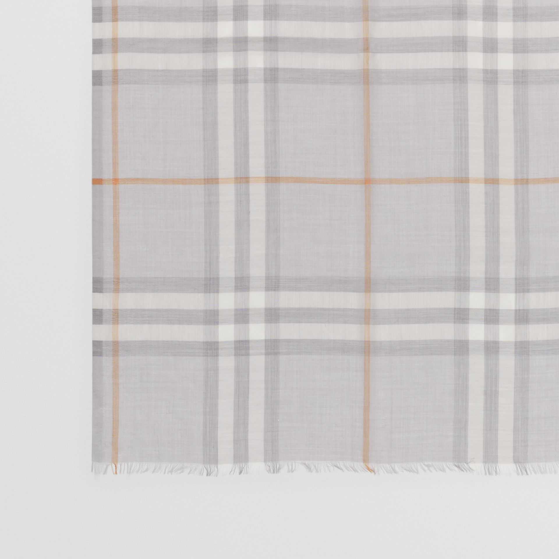 Lightweight Check Wool Silk Scarf in Light Grey | Burberry - gallery image 1