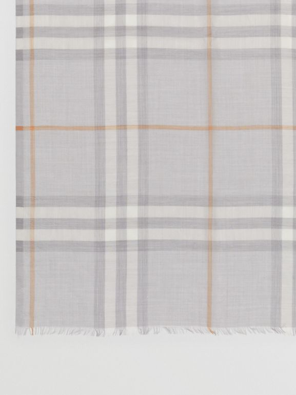 Lightweight Check Wool Silk Scarf in Light Grey | Burberry - cell image 1