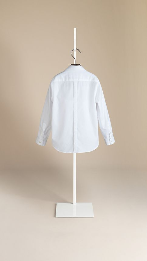 White Covered Placket Cotton Shirt - Image 2