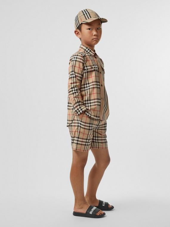 Vintage 格紋棉質套量裁製短褲 (典藏米色)