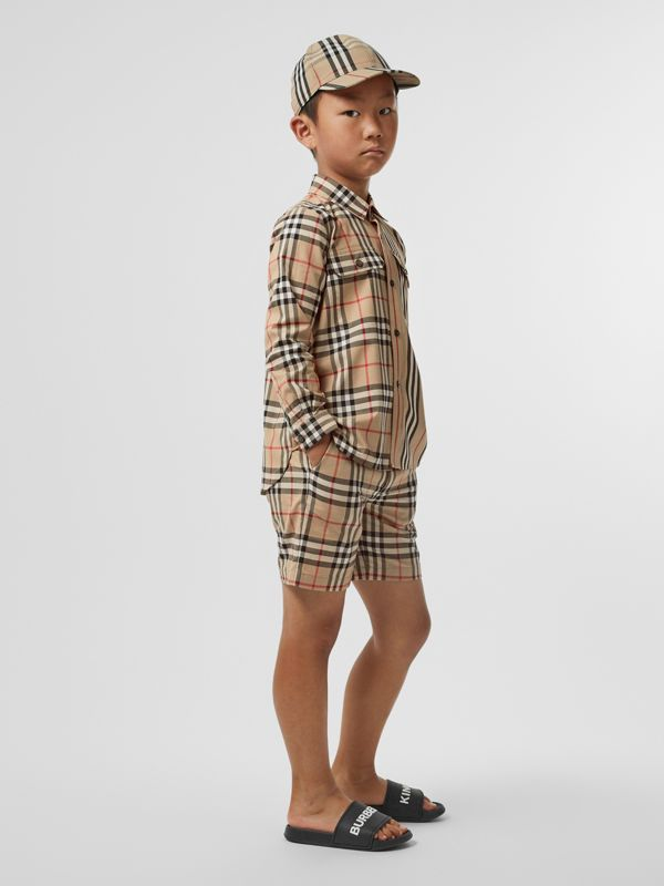 Vintage Check Cotton Tailored Shorts in Archive Beige - Children | Burberry Australia - cell image 2