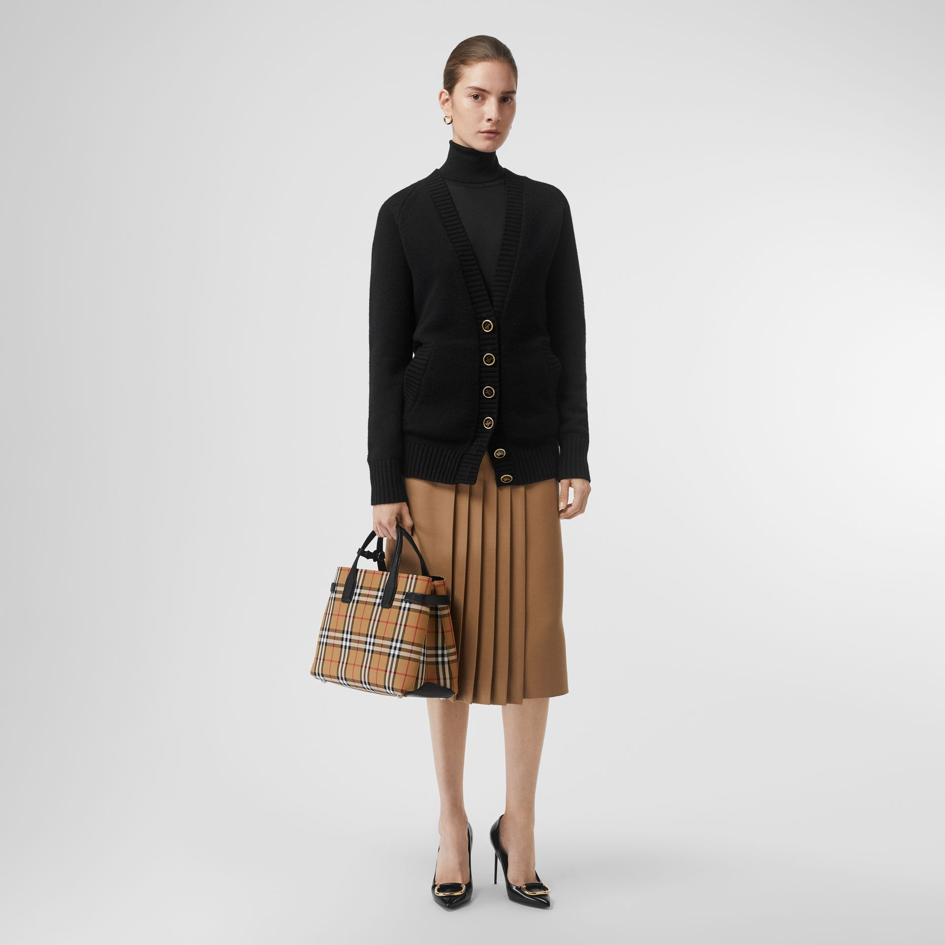 The Medium Banner in Vintage Check and Leather in Black - Women | Burberry - gallery image 5