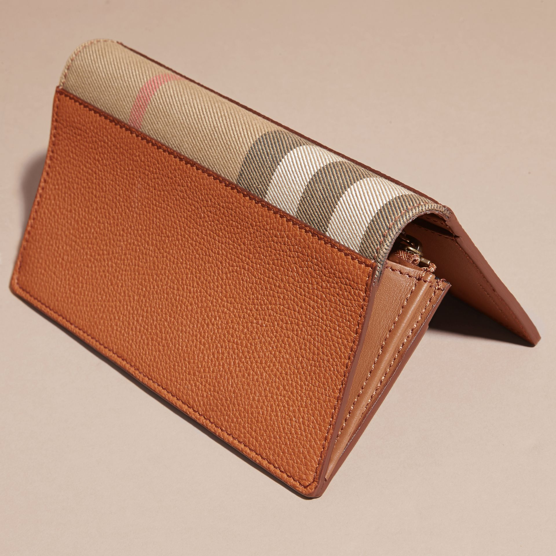 House Check and Grainy Leather Continental Wallet Russet - gallery image 4