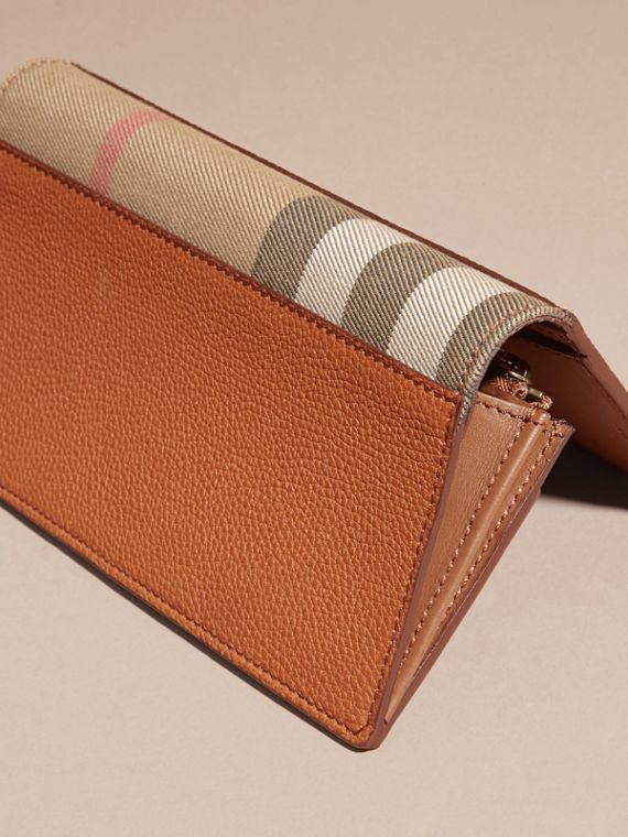 House Check and Grainy Leather Continental Wallet Russet - cell image 3