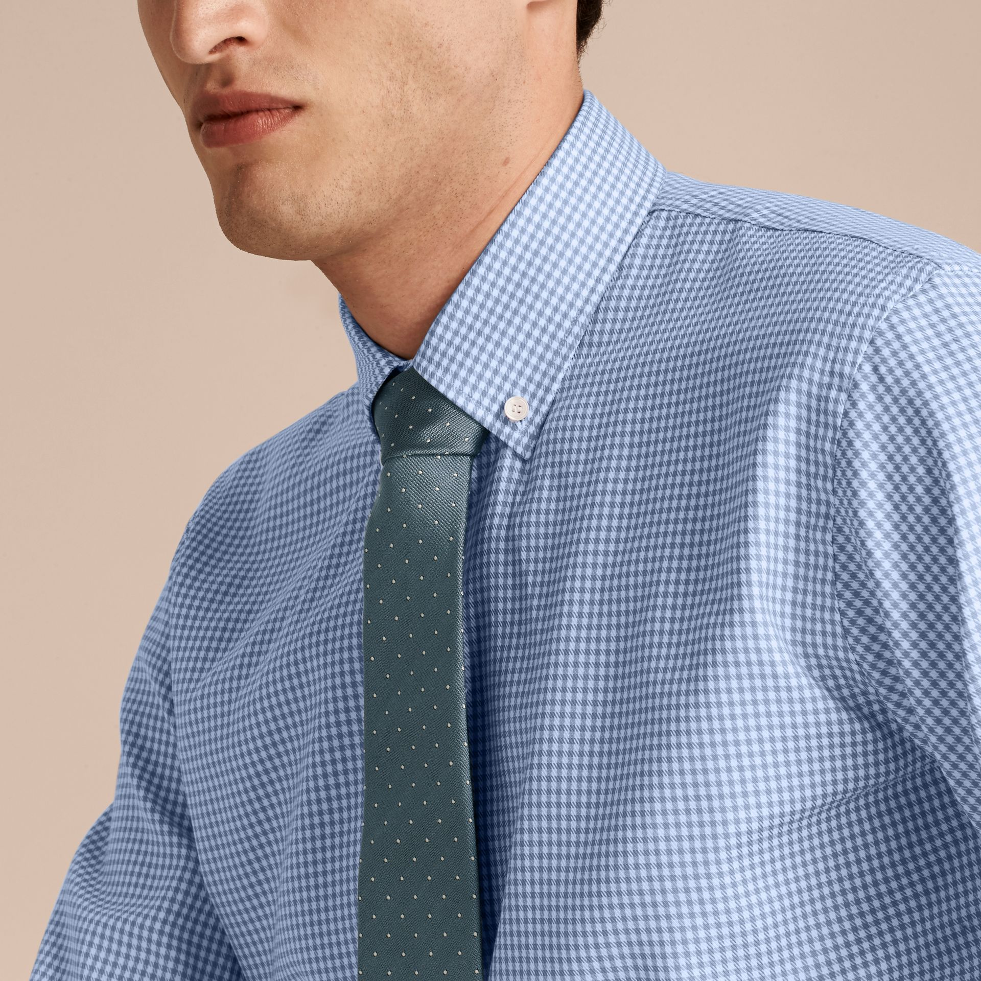 Mid blue Modern Fit Button-down Collar Check Cotton Shirt Mid Blue - gallery image 5