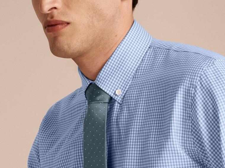 Bleu moyen Chemise moderne en coton à motif check avec col boutonné Bleu Moyen - cell image 4