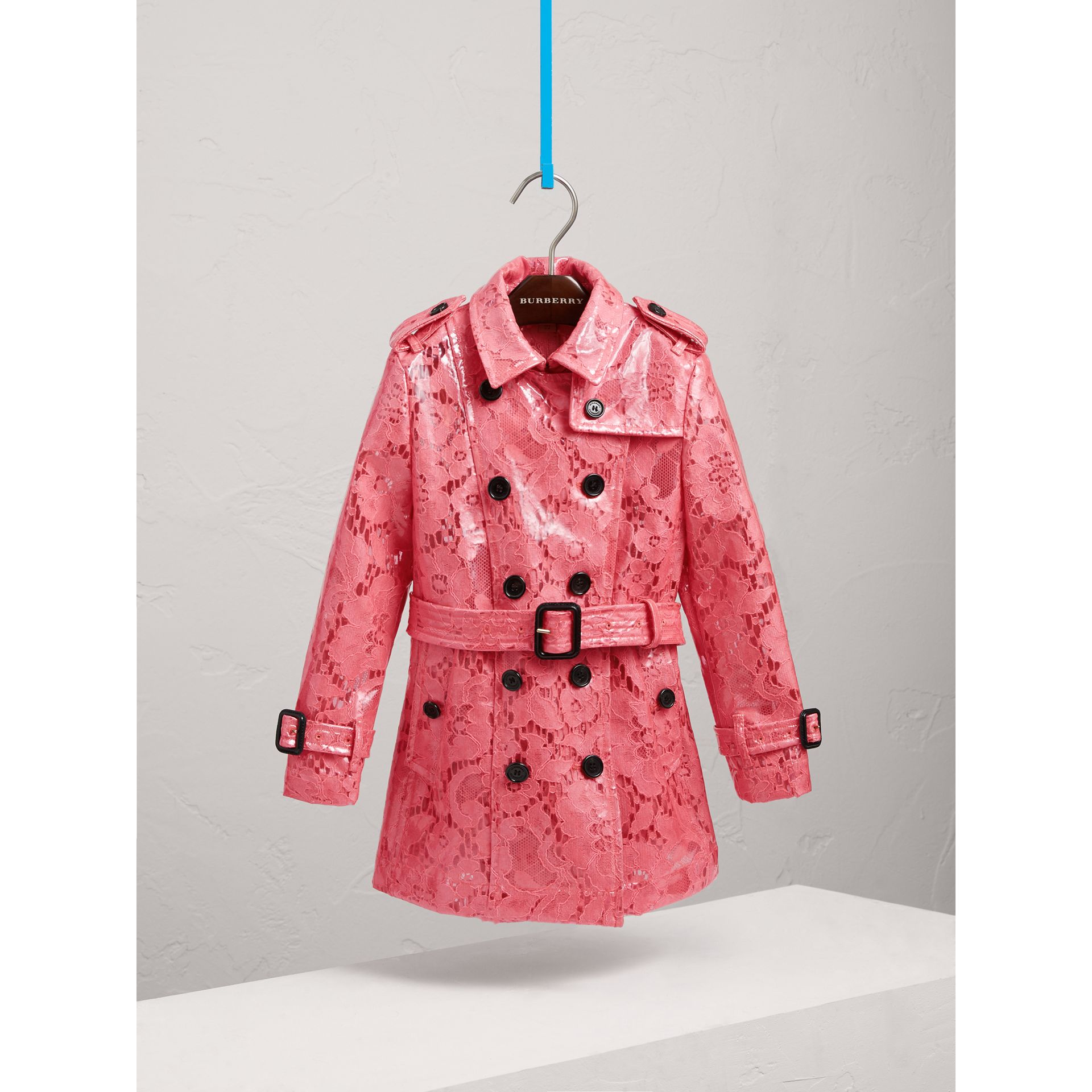 Laminated Lace Trench Coat in Bright Pink - Girl | Burberry - gallery image 0