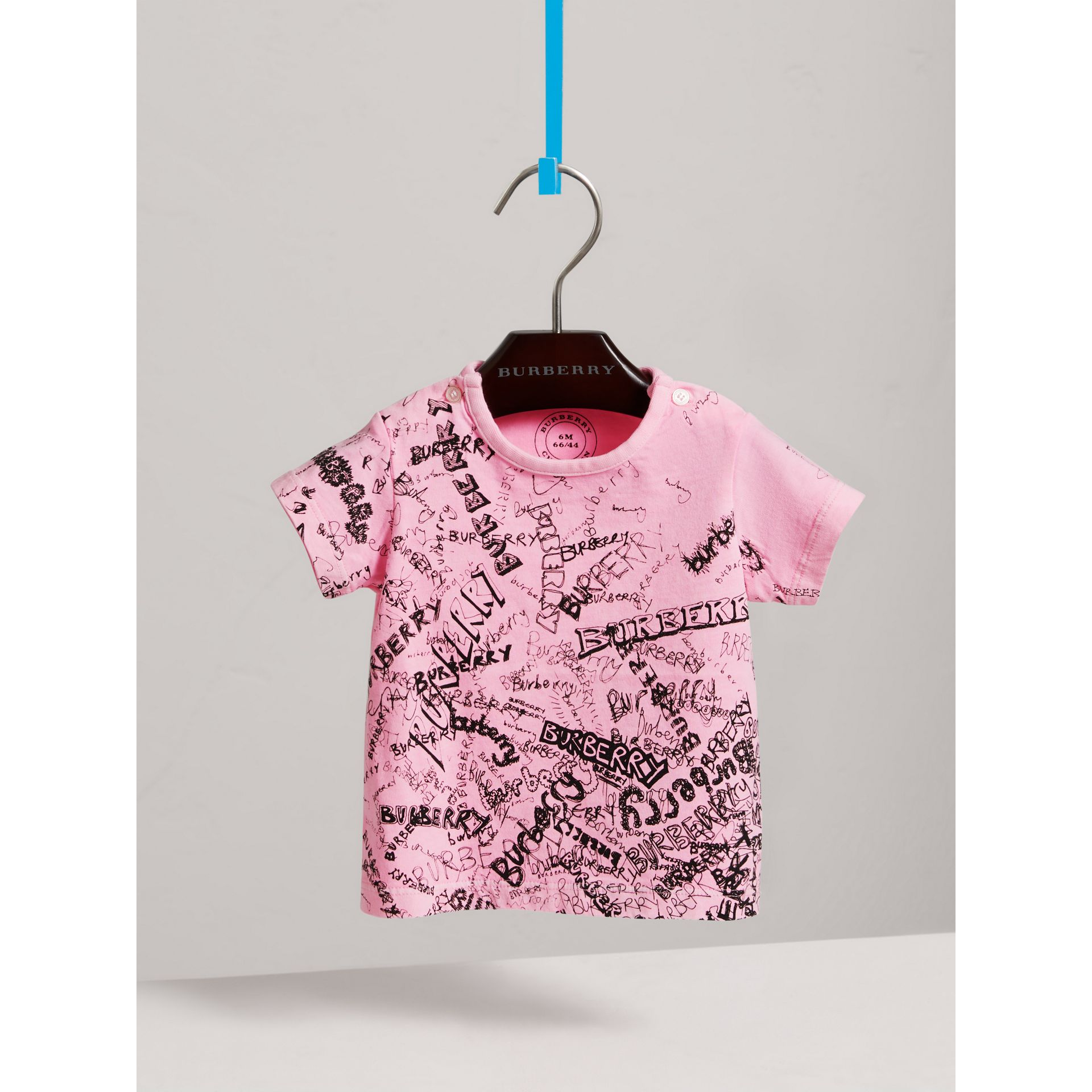 Doodle Print Cotton Jersey T-shirt in Bright Rose | Burberry United States - gallery image 2