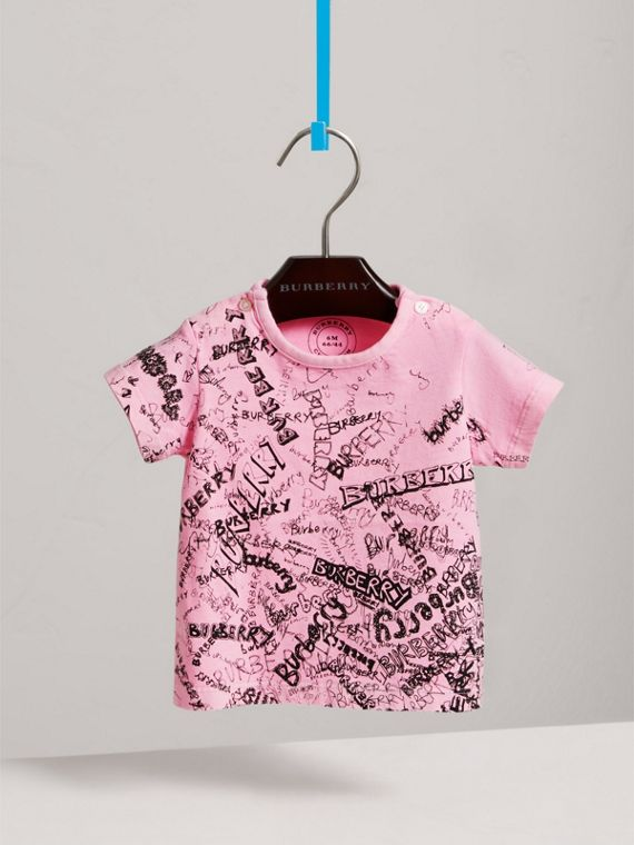 Doodle Print Cotton Jersey T-shirt in Bright Rose | Burberry United States - cell image 2