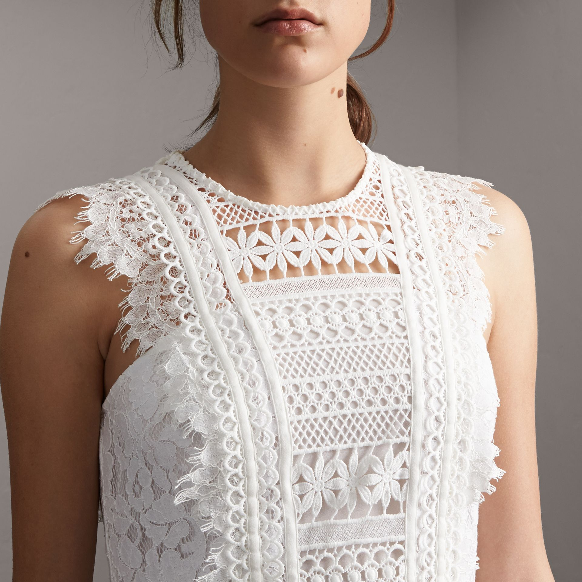 Sleeveless Macramé Lace Dress in White - Women | Burberry - gallery image 5