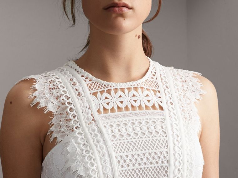 Sleeveless Macramé Lace Dress in White - Women | Burberry - cell image 4