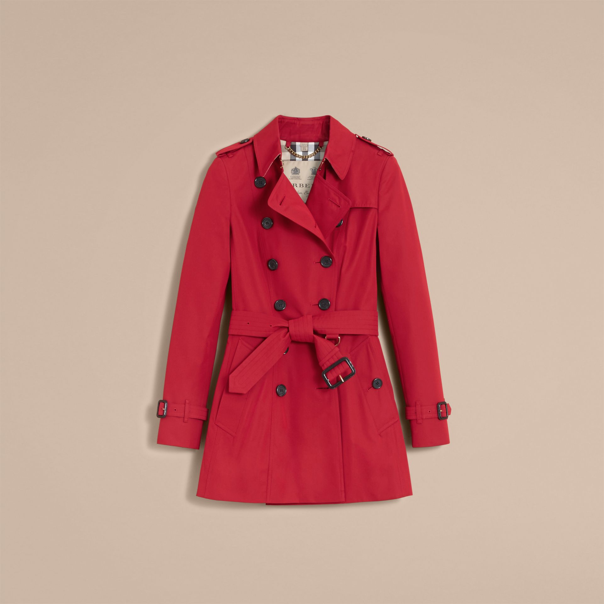 The Chelsea – Short Heritage Trench Coat in Parade Red - gallery image 4