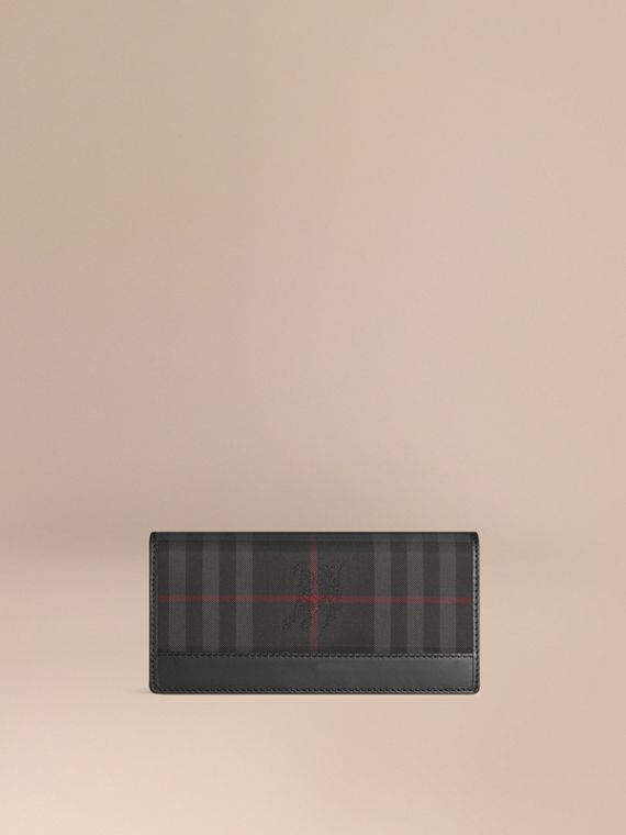 Horseferry Check Continental Wallet in Charcoal/black