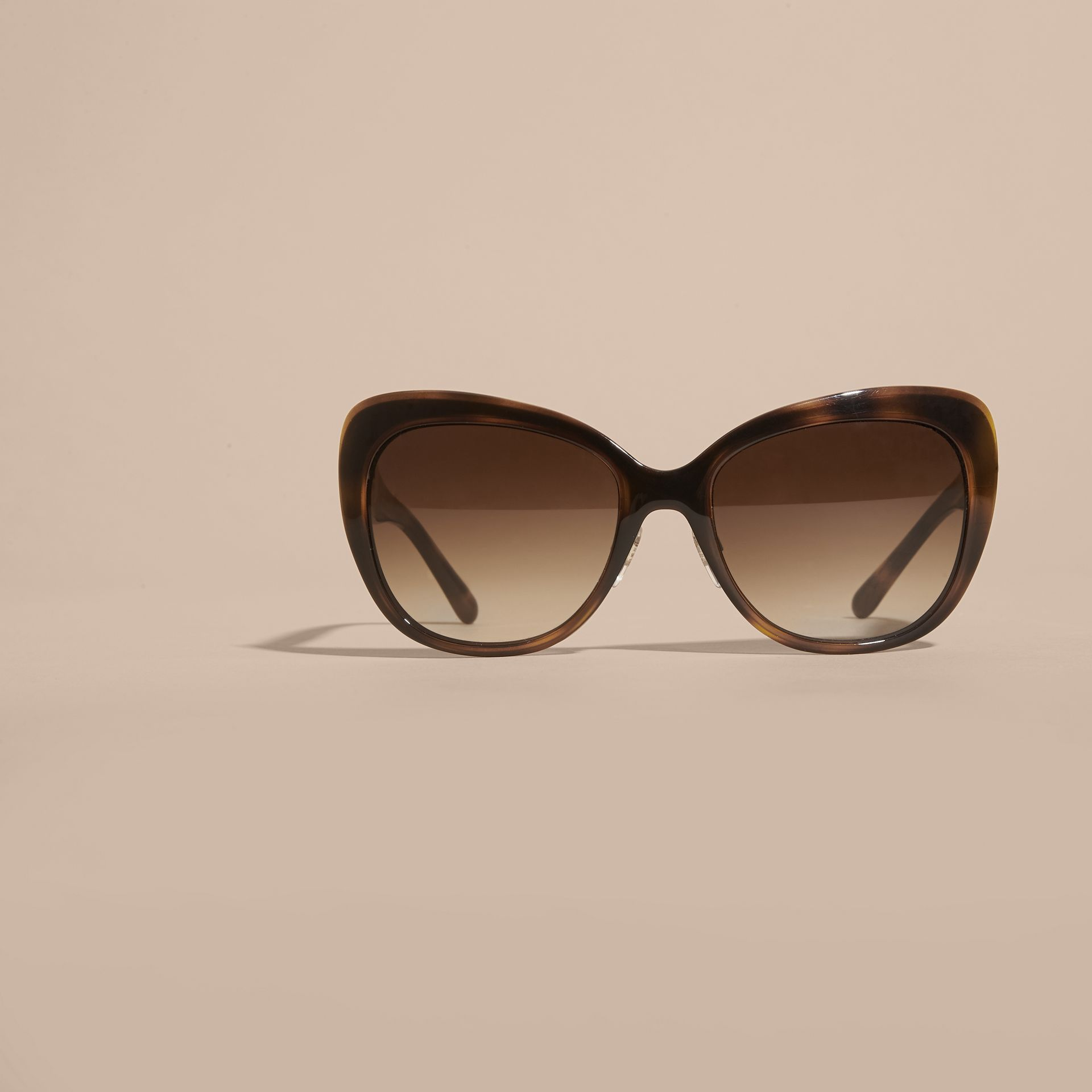 Light russet brown Check Detail Square Cat-eye Sunglasses Light Russet Brown - gallery image 3