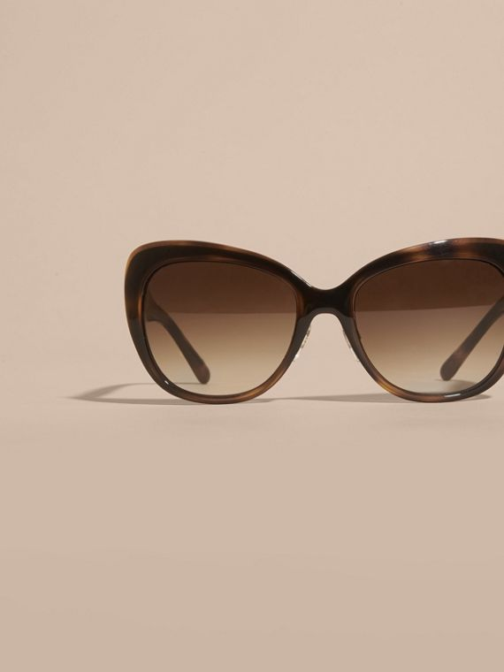 Light russet brown Check Detail Square Cat-eye Sunglasses Light Russet Brown - cell image 2
