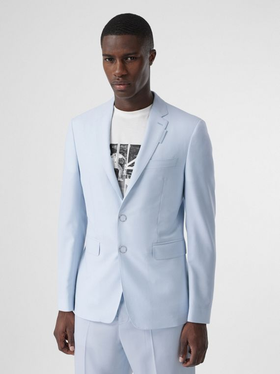 Slim Fit Press-stud Tumbled Wool Tailored Jacket in Pale Blue
