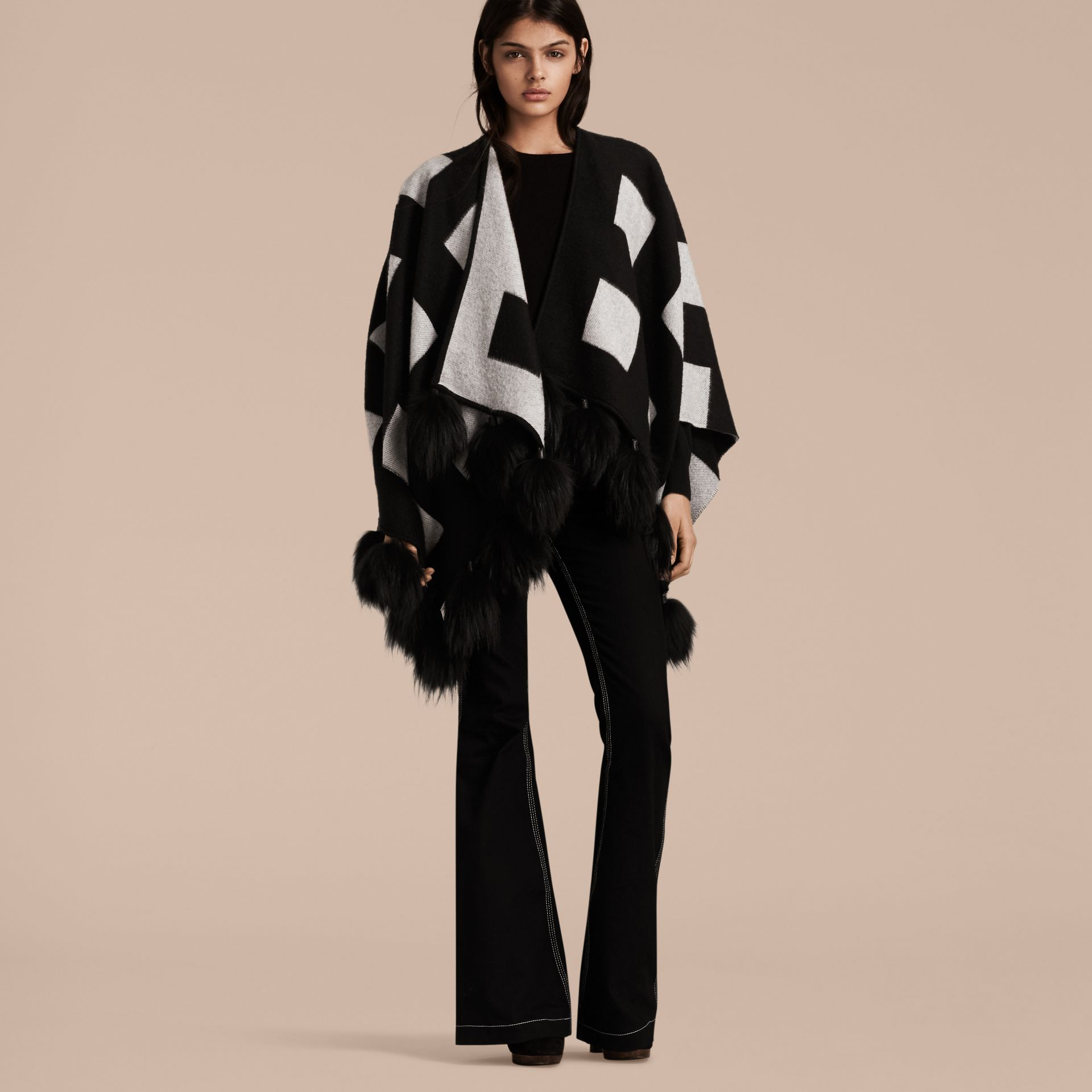 Black/white Check Jacquard Cashmere Poncho with Raccoon Pom-poms - gallery image 1