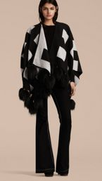 Check Jacquard Cashmere Poncho with Raccoon Pom-poms