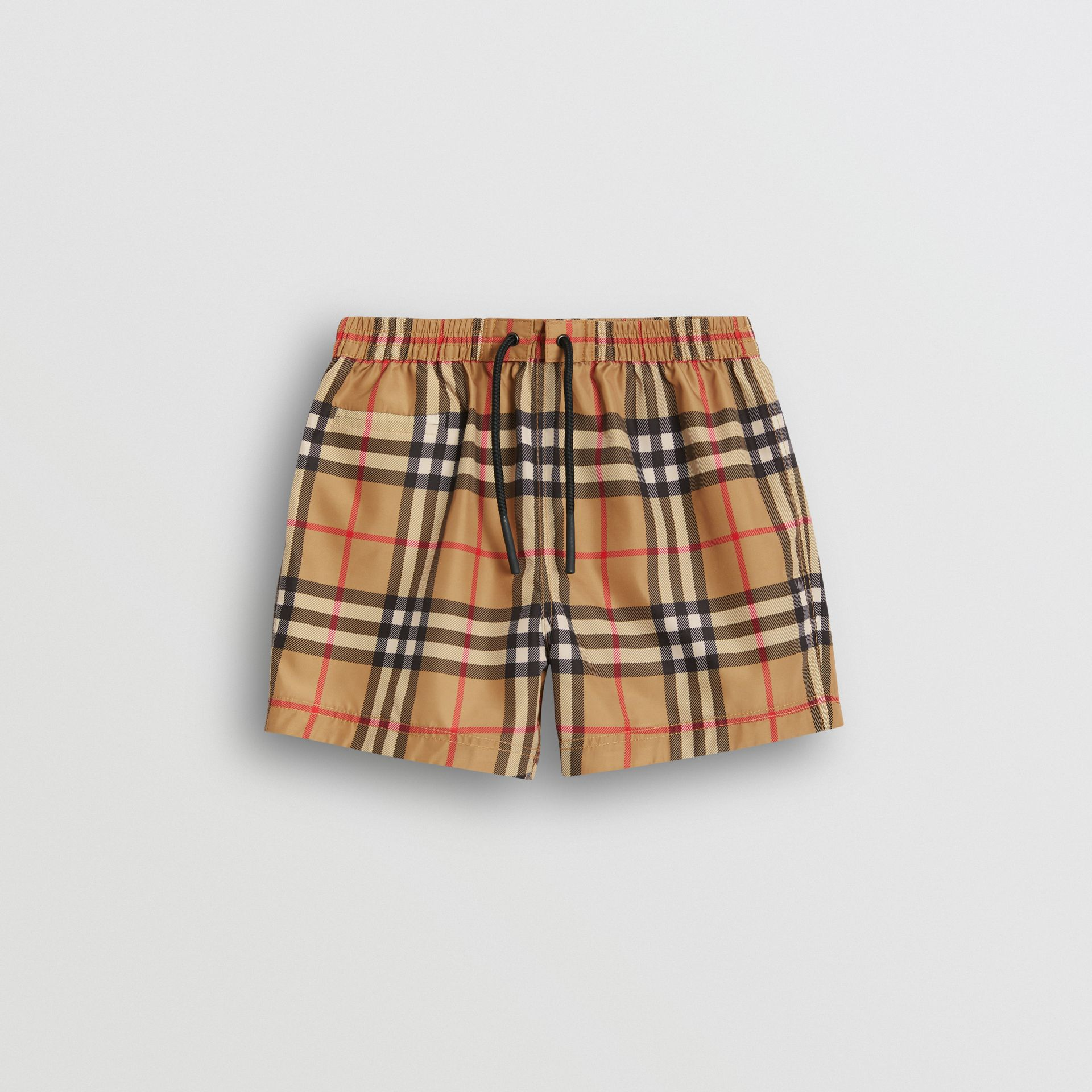 Check Swim Shorts in Antique Yellow - Children | Burberry Canada - gallery image 0