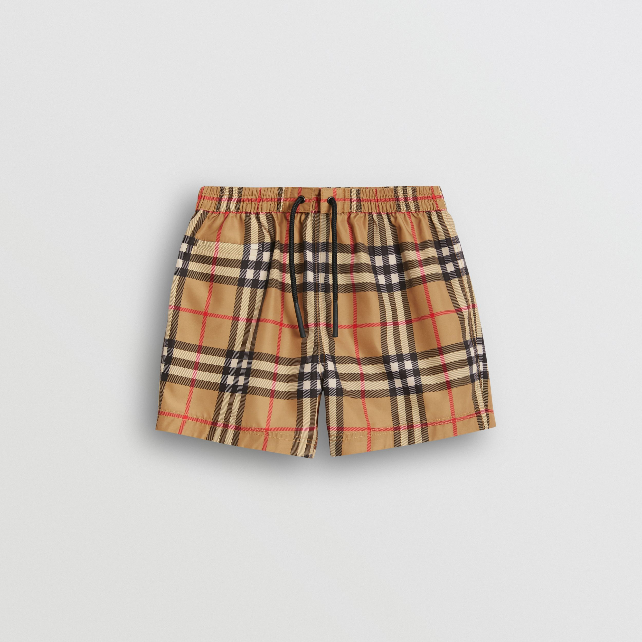 Short de bain à motif check (Jaune Antique) - Enfant | Burberry - 1
