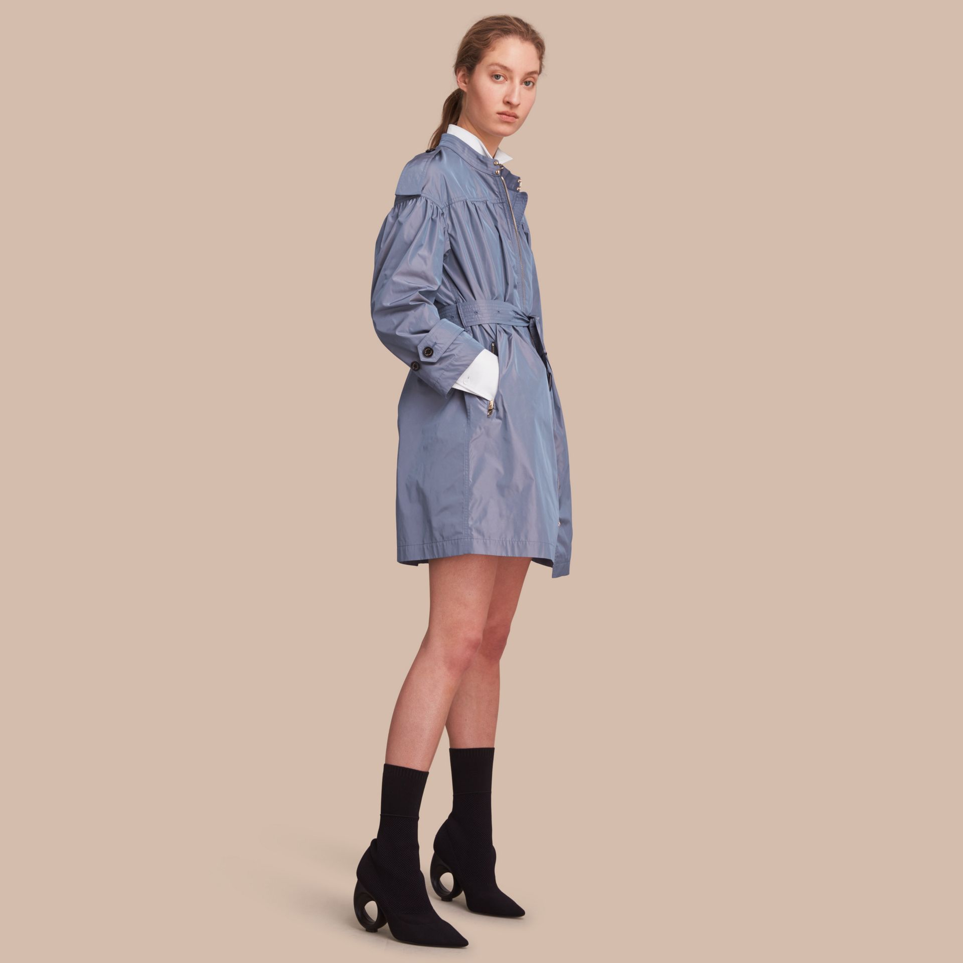 Lightweight Ruched Coat in Stone Blue - gallery image 1