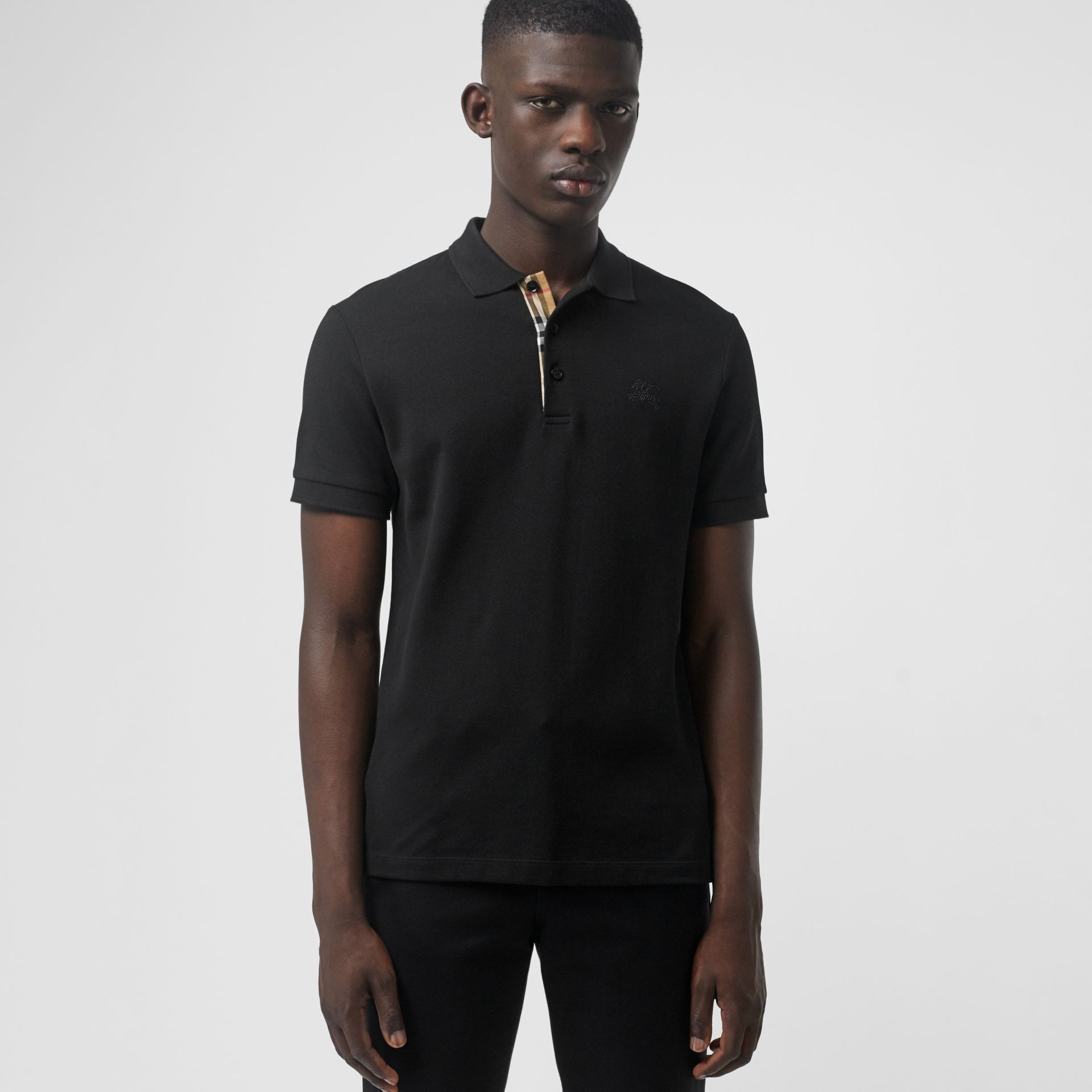 Check Placket Cotton Polo Shirt in Black - Men | Burberry - gallery image 0