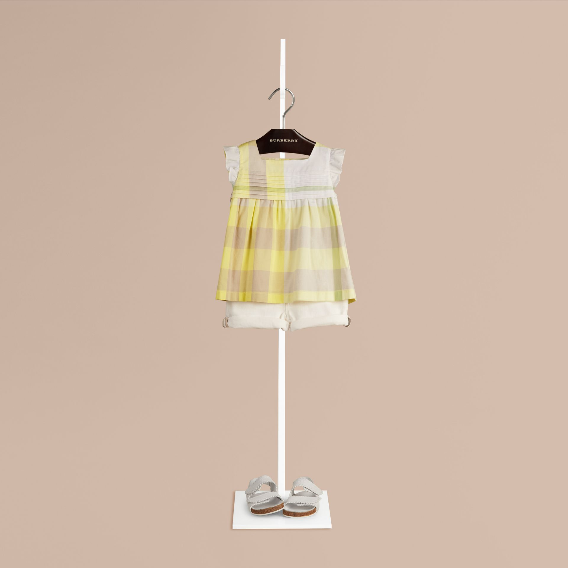 Pale lemon Check Pleat Detail Cotton Blouse Pale Lemon - gallery image 1