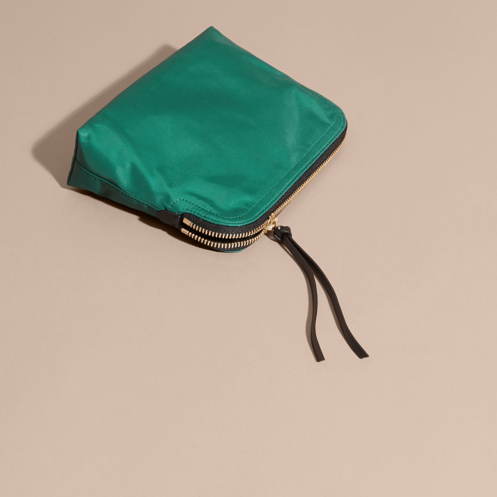 Pine green Zip-top Technical Nylon Pouch - gallery image 7