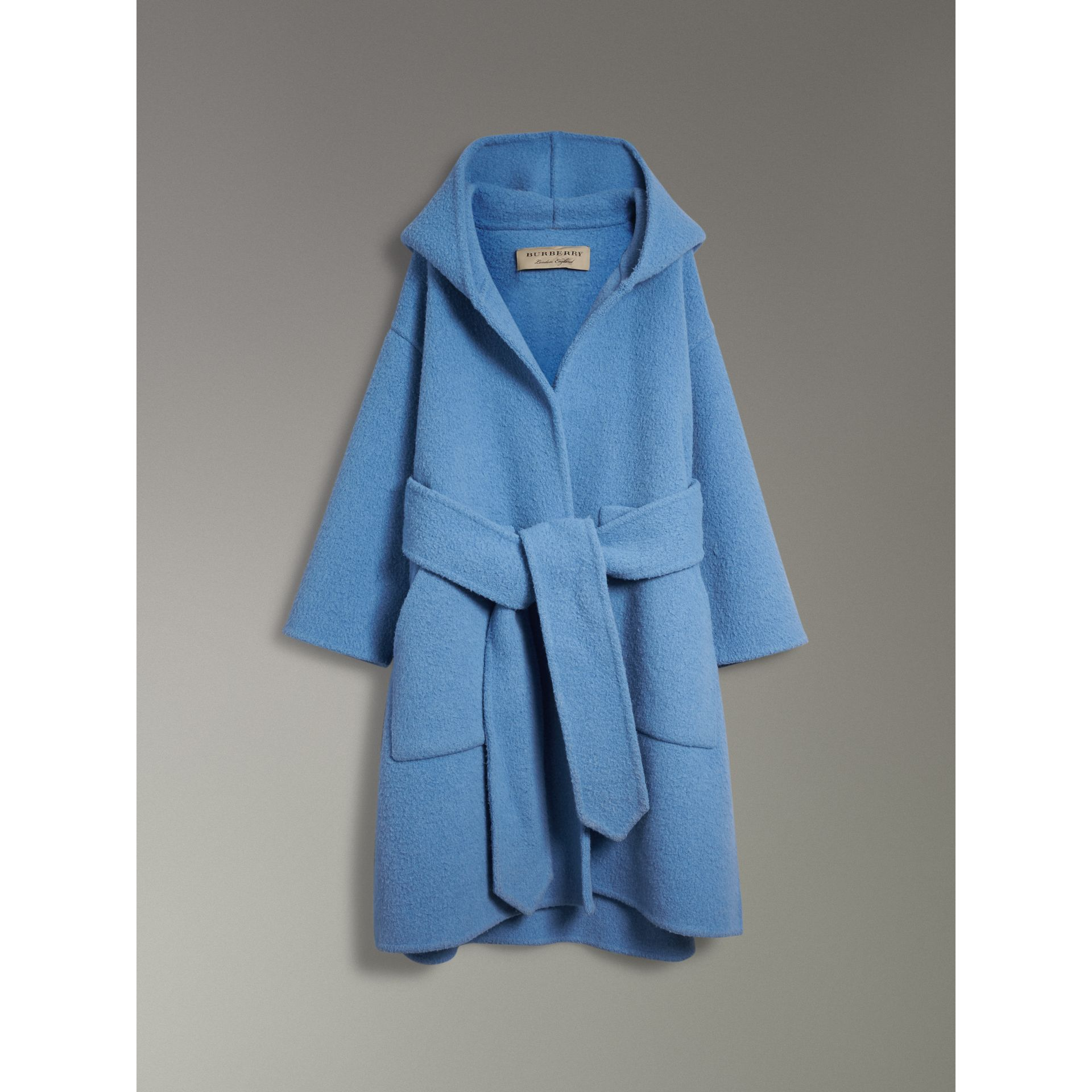 Alpaca Wool Blend Dressing Gown Coat in Hydrangea Blue - Women | Burberry - gallery image 3