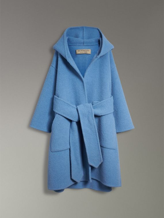 Alpaca Wool Blend Dressing Gown Coat in Hydrangea Blue - Women | Burberry Canada - cell image 3