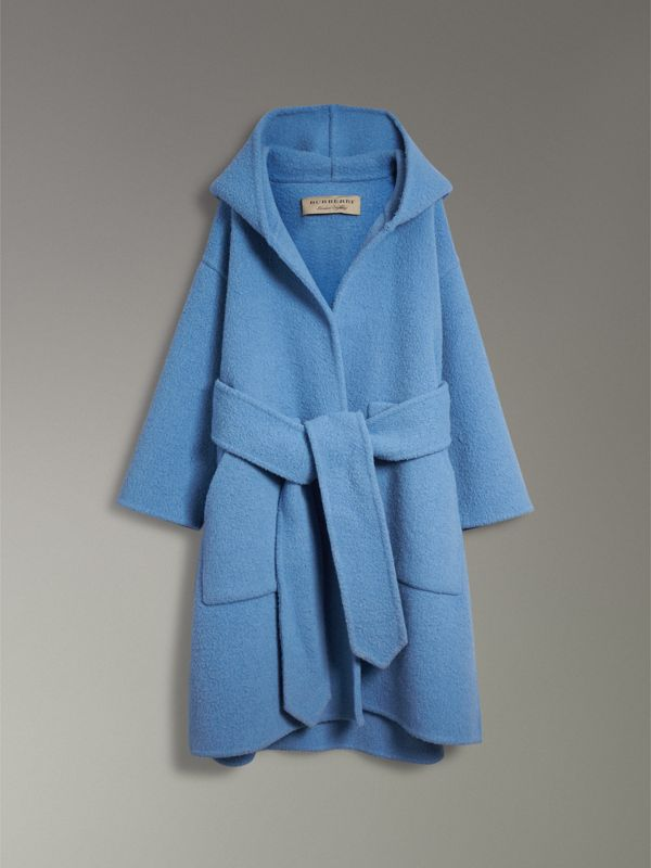 Alpaca Wool Blend Dressing Gown Coat in Hydrangea Blue - Women | Burberry - cell image 3