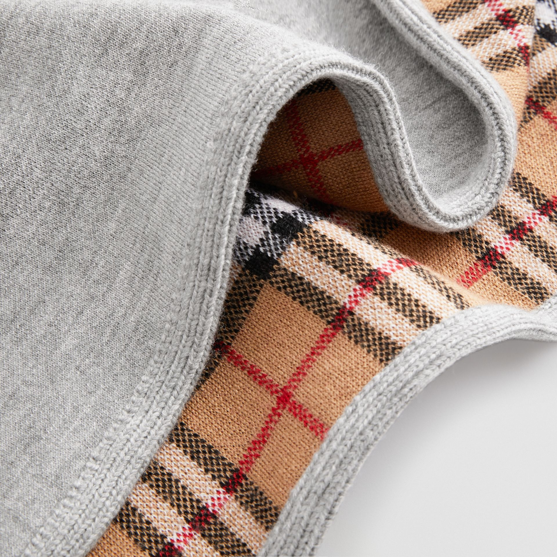 Reversible Check Merino Wool Jacquard Poncho in Grey Melange - Children | Burberry United States - gallery image 1